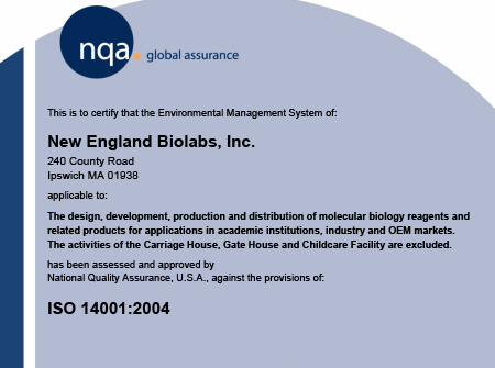 NEB ISO 14001 Certificate